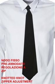 Cravatta nera con nodo prefatto e regolazione a cerniera