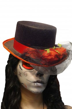 Cappello a cilindro nero Calavera con veletta e rose