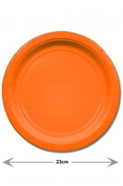 Piatti Party carta arancioni piani grandi 8 piatti, 23cm
