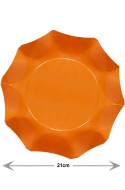Piatti Party di carta ondulati arancioni, 10 piatti, 21cm