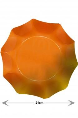 Piatti Party di carta ondulati arancioni sfumati, 10 piatti, 21cm
