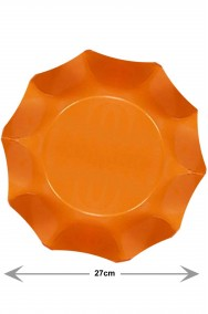 Piatti Party di carta ondulati arancioni, 10 piatti, 27cm