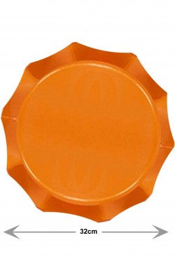 Piatti di carta grandi sottopiatti o di portata arancioni per party 5 piatti, 32cm