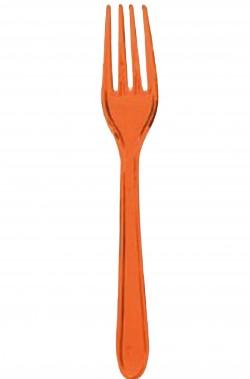 Forchette di plastica arancioni 24 pezzi
