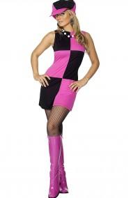 Costume donna anni 60 a scacchi rosa e neri