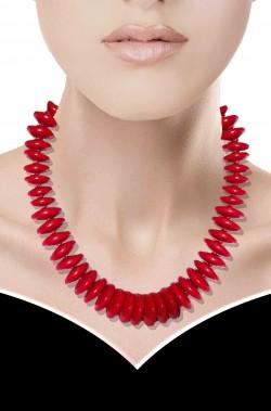 Collana stile anni 60 elasticizzata con dischi rossi