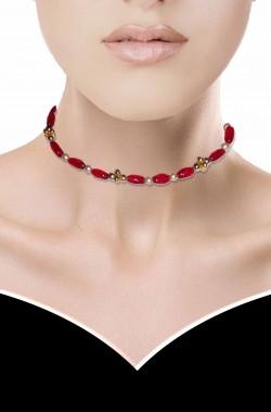 Collana girocollo rossa con perle di fiume finte rosse