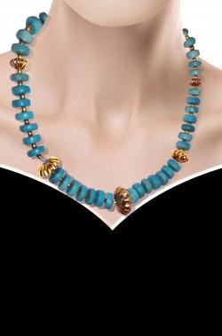 Collana stile anni 50 azzurra con dischi azzurri e fermagli dorati