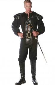 Costume cavaliere nero medievale con paraspalle e gorgiera