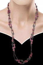 Collana di perle finte rotonde rosa
