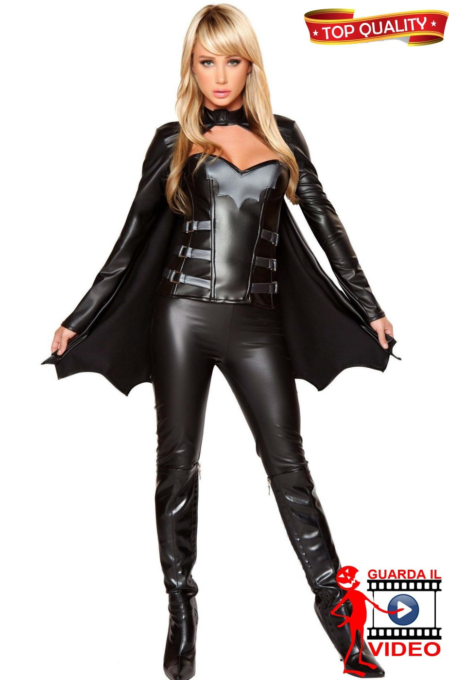 Costume bat girl in vinile straordinario e bellissimo