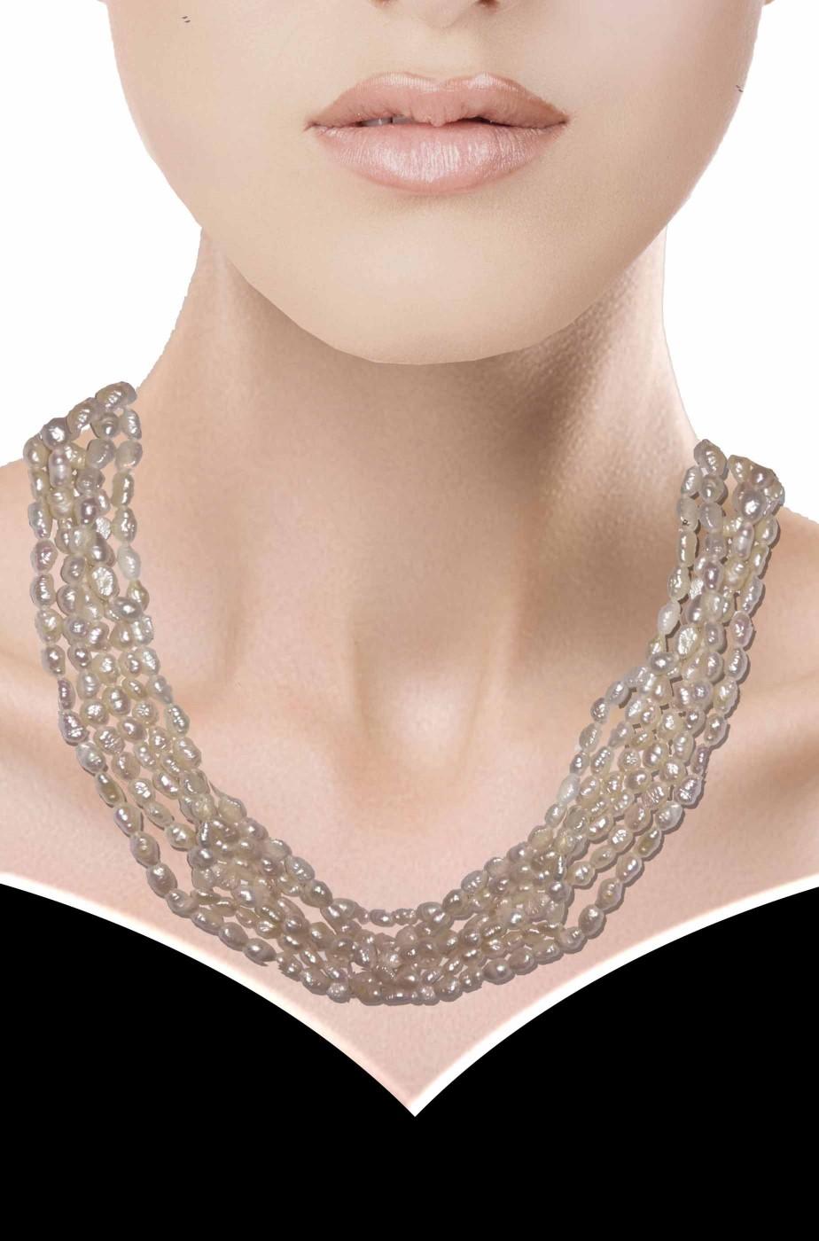 Collana girocollo perle di fiume 6 fili con fermaglio