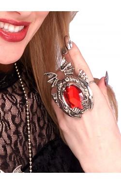 Anello gotico demone con pietra rossa