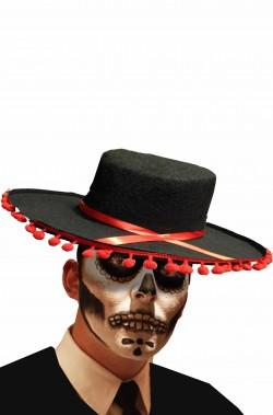 Cappello bolero spagnolo calavera flamenco con palline