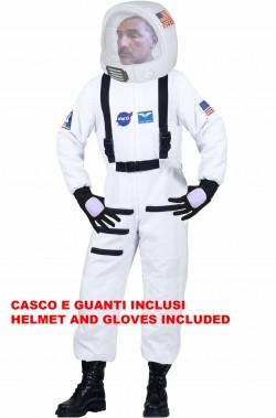 Costume adulto da astronauta bianco con casco e guanti