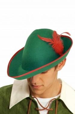Cappello verde a punta da elfo o robin hood o tirolese