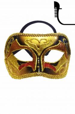 Maschera carnevale  lusso in stile veneziano oro e rosso