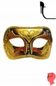 Maschera carnevale  in stile veneziano oro bronzo e rosso