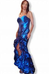 Abito di gala lungo blu elettrico da donna elegante alta moda
