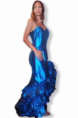 Abito lungo per serate di gala blu elettrico da donna di alta moda