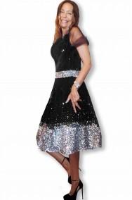 Abito di gala da cocktail nero e argento da donna elegante alta moda