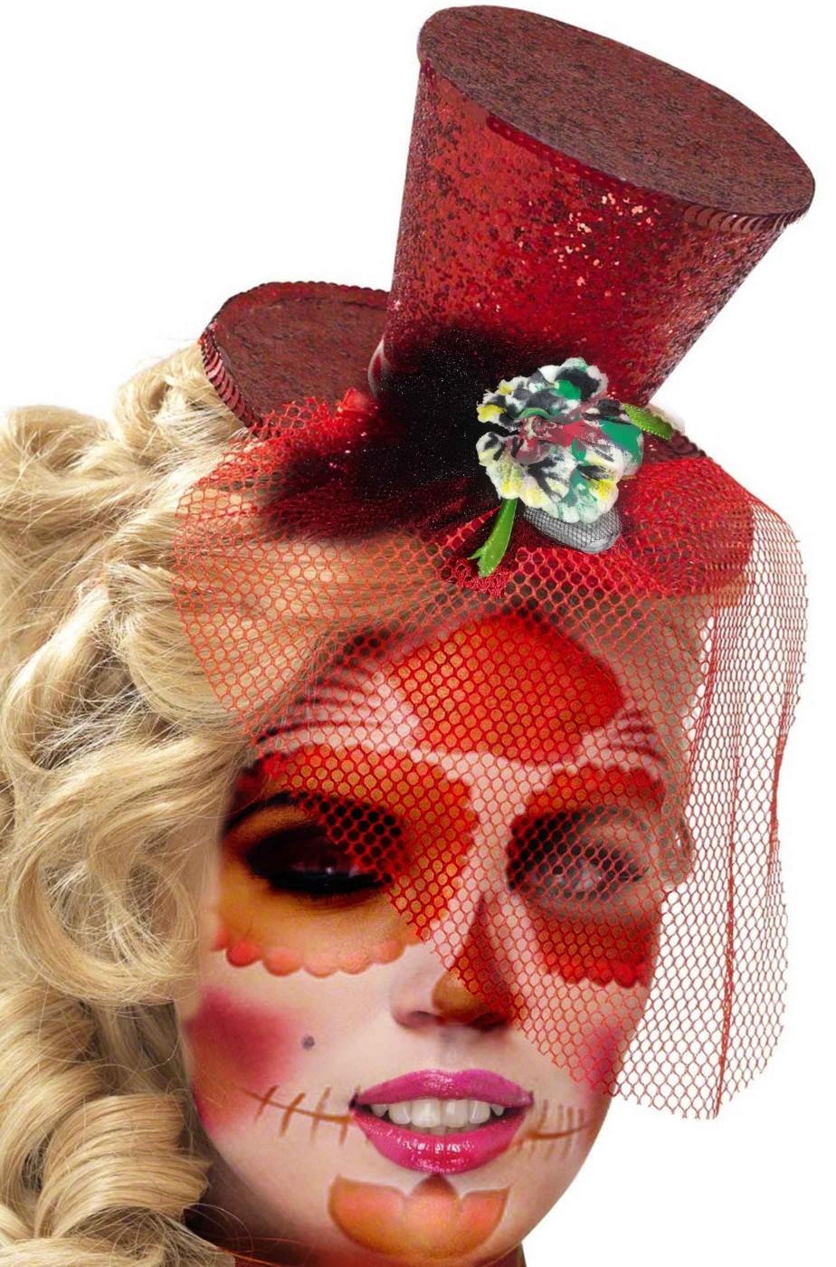 Cappellino rosso con fiori per teschio di zucchero calavera Dia de Los Muertos