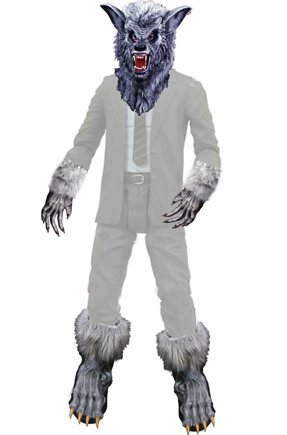 Set per vestito di carnevale da lupo grigio