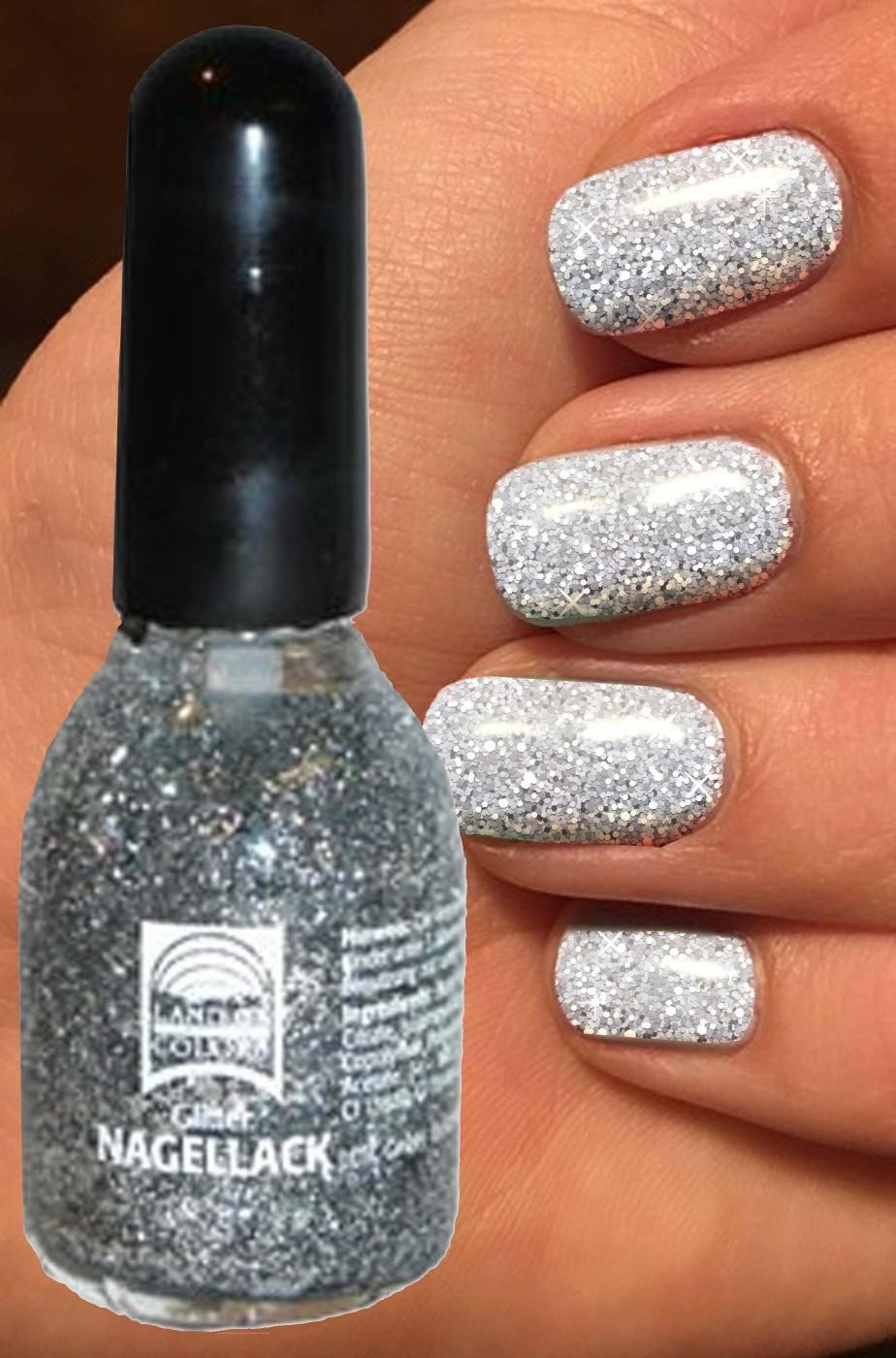 Smalto per unghie brillantini glitter Argento 15 ml