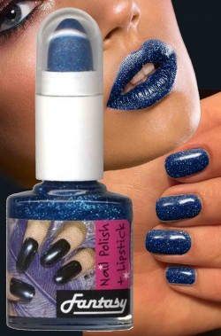 Smalto per unghie brillantini nailart blu con rossetto in nuance
