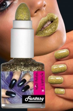 Smalto per unghie brillantini nailart oro con rossetto in nuance
