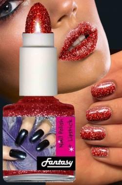 Smalto per unghie brillantini nailart glitter rosso con rossetto in nuance