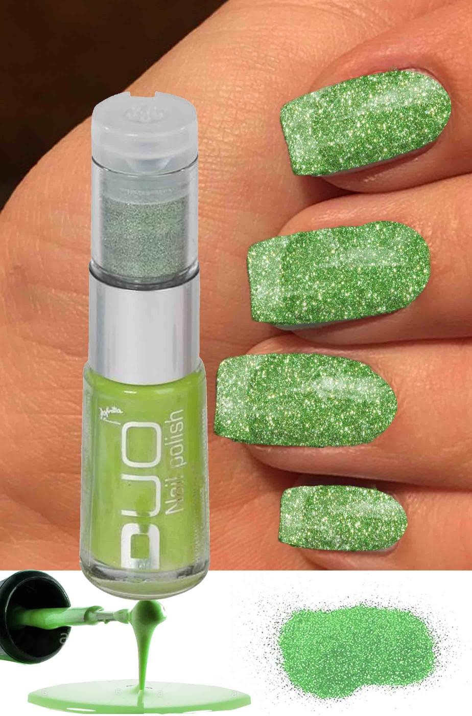 Smalto per unghie brillantini verdi da applicare su smalto verde 8ml