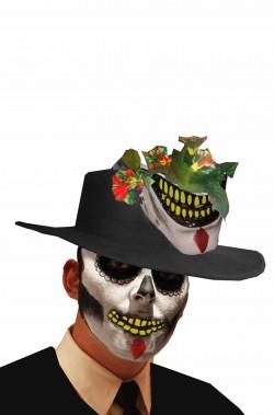 Cappello bolero nero floccato Dia de los muertos con bocca jester