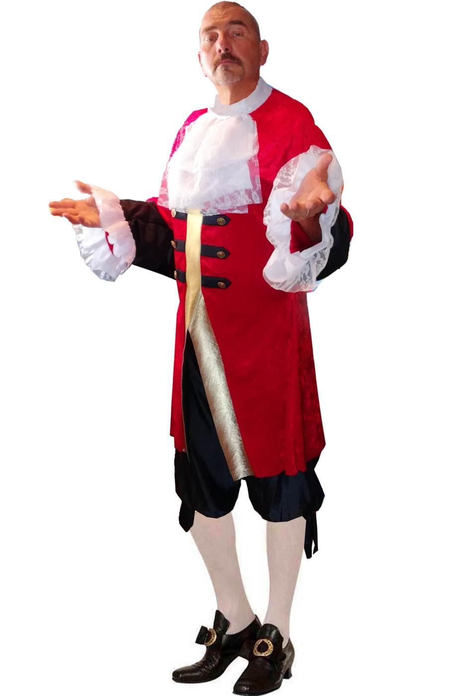 Costume stile veneziano 700 rosso cocchiere maggiordomo figaro