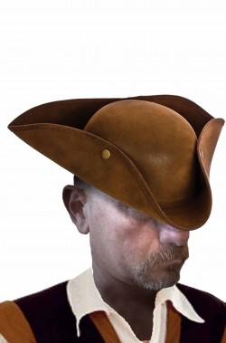 Cappello da pirata cavaliere del 700 a tricorno in similpelle scamosciata rigida marrrone