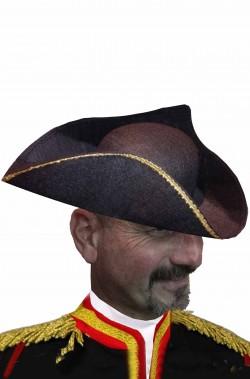 Cappello da pirata cavaliere del 700 a tricorno nero