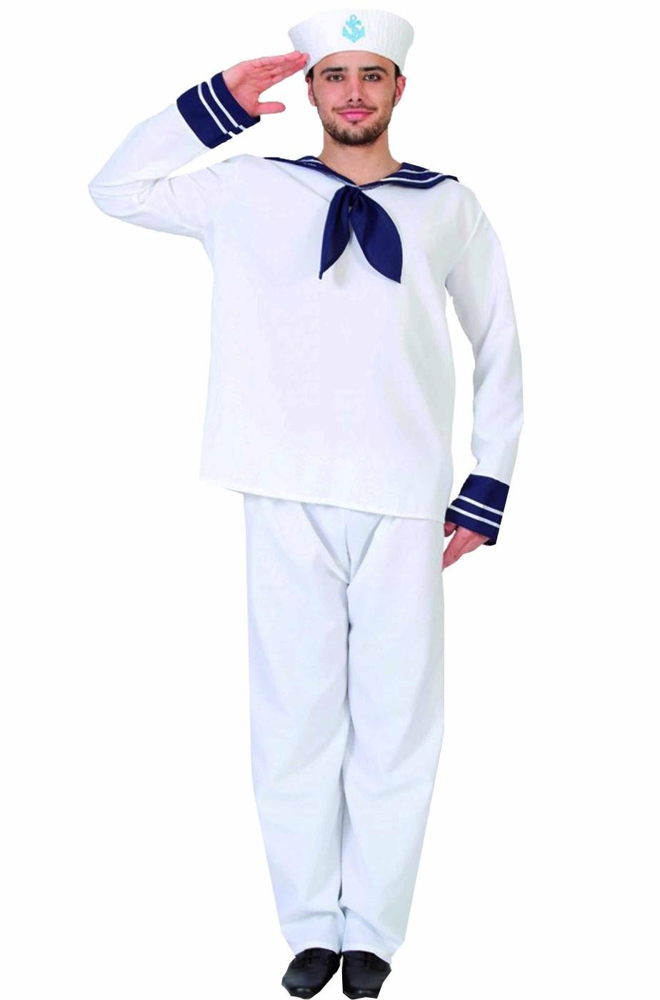 Vestito di Carnevale da Marinaio uomo adulto divisa bianca