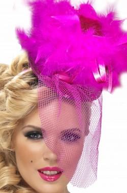 Cappello burlesque in paillette rosa con nuvola di piume di struzzo