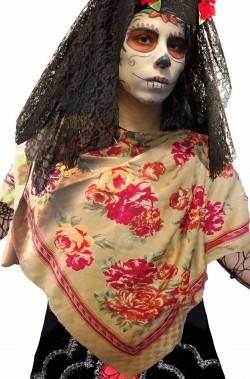 Pashmina grande con rose stampate