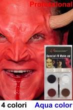 Trucco teatrale palette aqua color 4 colori Diavolo o Demone