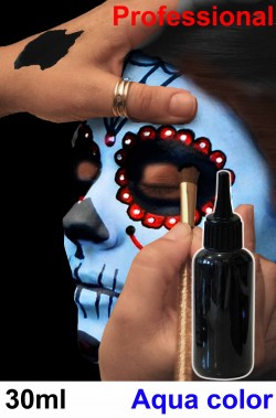Trucco teatrale professionale flacone aqua color 30ml nero