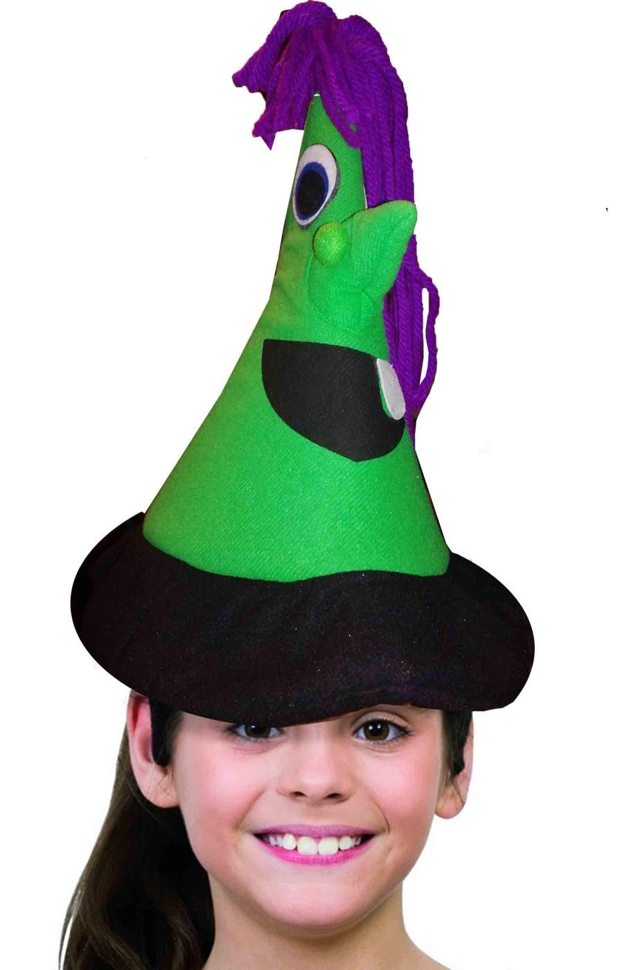 Cappello da strega o befana verde con occhi e nasone