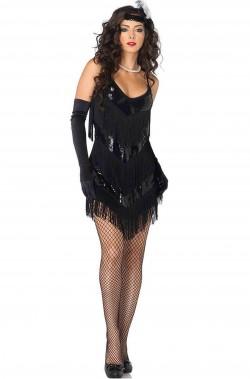 Costume donna anni 20 flapper tubino nero con frange