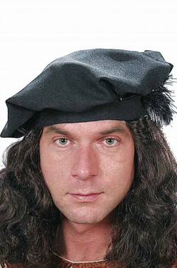 Cappello Floscio Leonardo da Vinci Tudor nero con piuma
