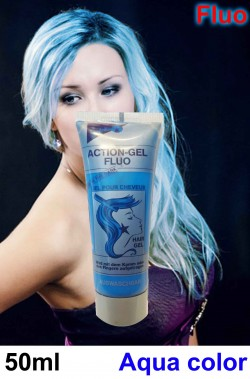 Trucco teatrale colore gel per capelli fluo 50 ml azzurro