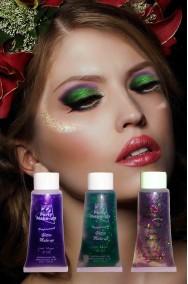 Brillantini per trucco in gel pacchetto elfa tre colori viola, verde, arcobaleno