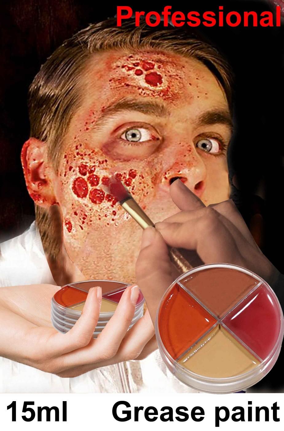 Trucco halloween teatrale colori ferite e bruciature