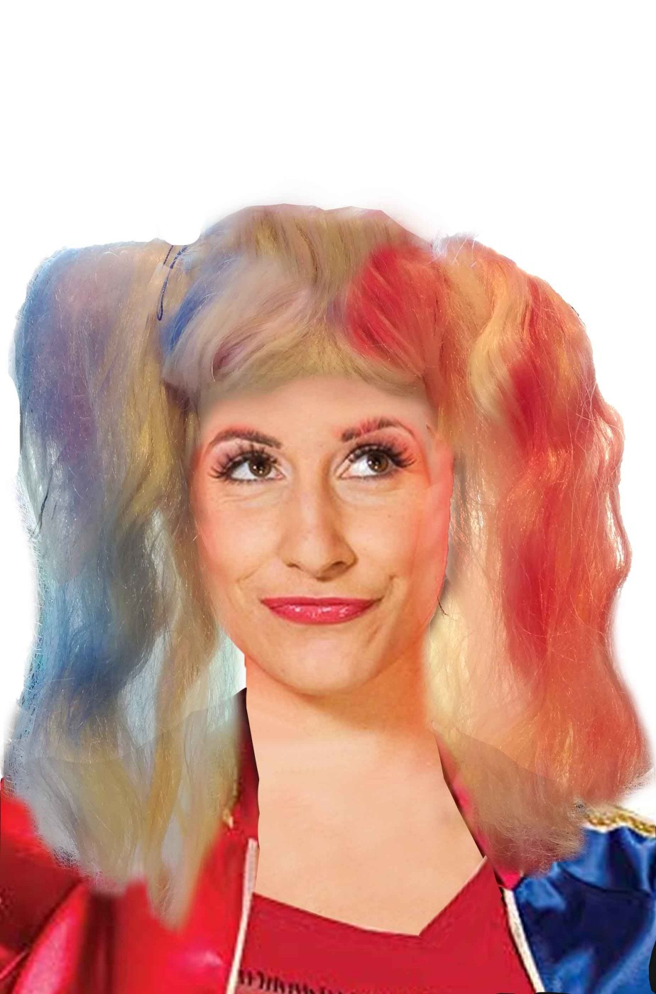 Parrucca bionda con codini rosso e blu Crazy Harley quinn