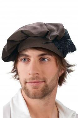 Cappello Floscio rinascimentale Tudor marrone con piuma