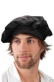 Cappello Floscio rinascimentale Tudor nero con piuma